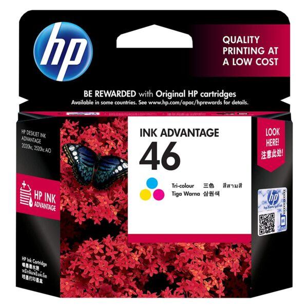 46 no cartridge HP coloured