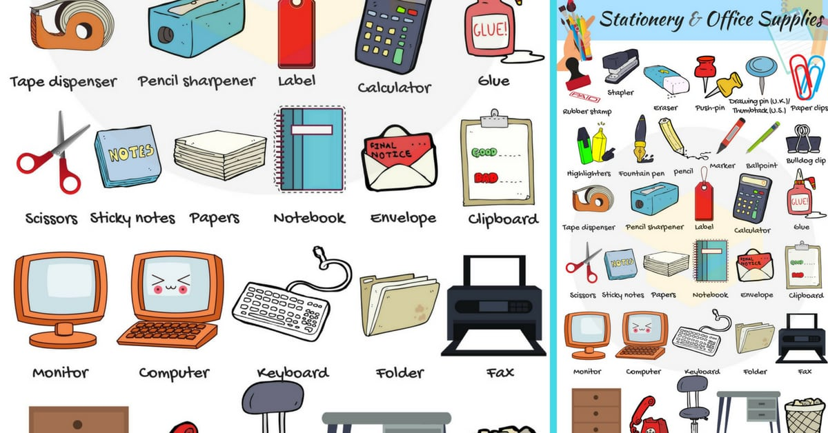 List of stationery items for an office