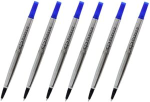 Parker rollerball pen refill, available in blue or black and medium (M) or fine (F) line width. Parker rollerball refills fit all Parker roller pens and contains advanced ink technology for consistent, high-quality writing.